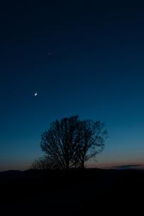 夕暮れの空と三日月の写真素材 [FYI00189532]