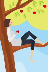 林檎と女の子の素材 [FYI00189847]