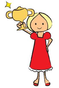 トロフィーを持つ女の子の写真素材 [FYI00189879]