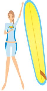 サーフボードと女の子の素材 [FYI00189938]