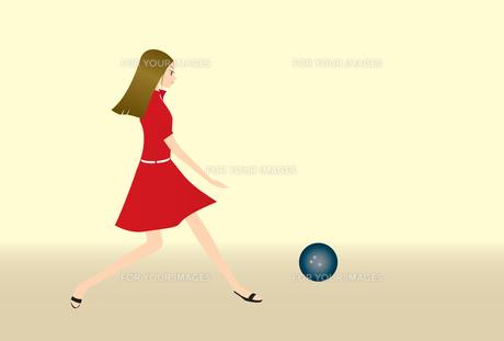 ボーリングをする女の子の素材 [FYI00189941]