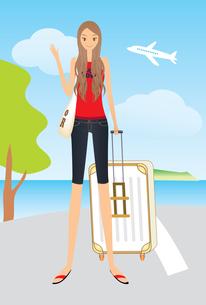 旅行 トランクを持つ女性の素材 [FYI00189972]