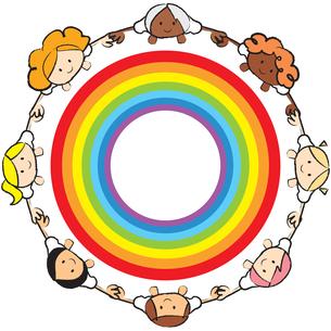 虹を囲む人の輪の素材 [FYI00189975]