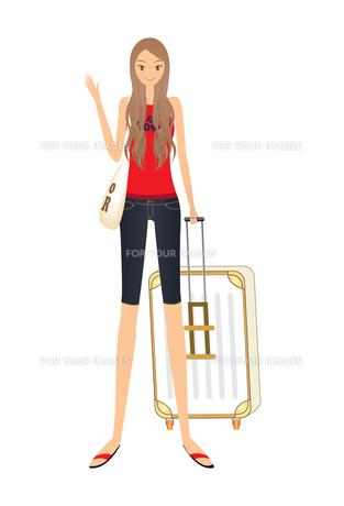 トランクを持つ女性の素材 [FYI00189976]
