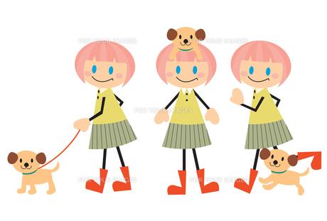 犬と女の子の素材 [FYI00189990]