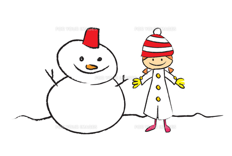 雪だるまと女の子の写真素材 [FYI00189991]