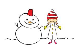 雪だるまと女の子の素材 [FYI00189991]