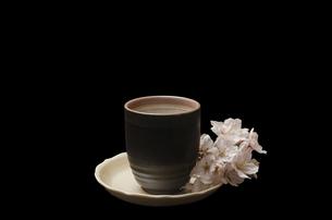 湯呑みと桜の写真素材 [FYI00191732]