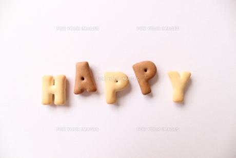 クッキー文字(happy)の写真素材 [FYI00191851]