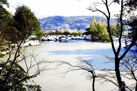 雪化粧の日本庭園Ⅴの写真素材 [FYI00193708]