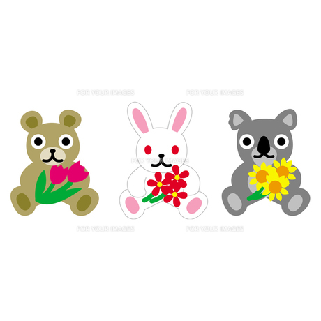 お花を持っているクマ、うさぎ、コアラの素材 [FYI00194145]