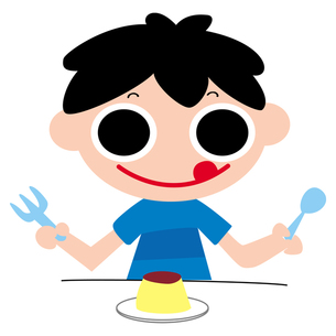 おやつのプリンを食べる男の子の写真素材 [FYI00194159]