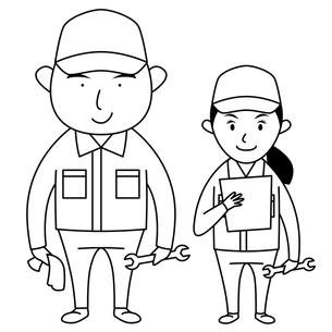 作業服を着た男女(モノクロ)の写真素材 [FYI00194166]