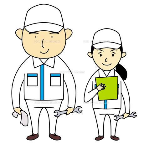 作業服を着た男女の写真素材 [FYI00194172]