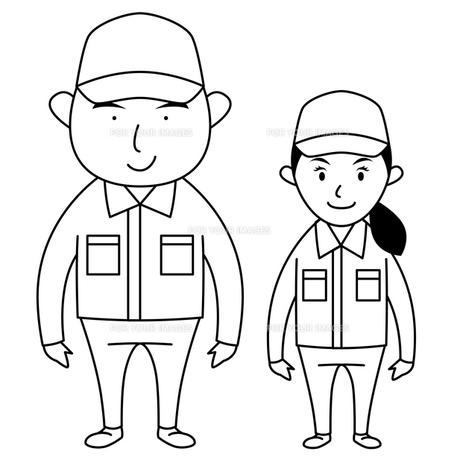 作業服を着た男女(モノクロ)の写真素材 [FYI00194175]