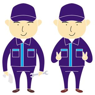 作業着を着た男性スタッフ(2パターン)の写真素材 [FYI00194176]