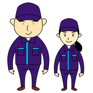 作業着を着た男女スタッフの写真素材 [FYI00194181]