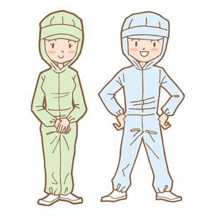 クリーンスーツを着た男女スタッフの写真素材 [FYI00194185]