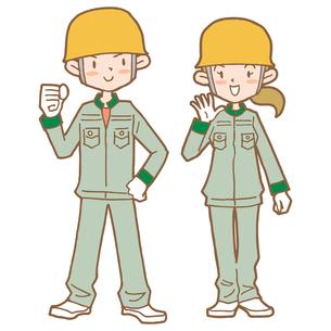 工場男女スタッフイラストの写真素材 [FYI00194189]