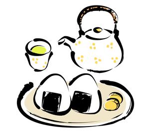 おにぎりとお茶の写真素材 [FYI00195387]