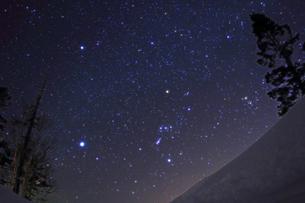 雪原と冬の大三角の写真素材 [FYI00195414]