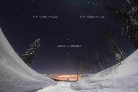 雪原と北天の星座の写真素材 [FYI00195425]