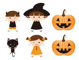 ハロウィン 子供と黒猫とカボチャの写真素材 [FYI00195549]