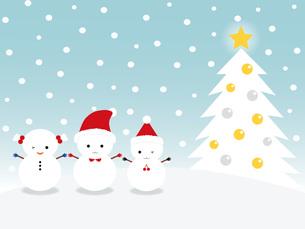 雪だるまとクリスマスツリーの写真素材 [FYI00195558]