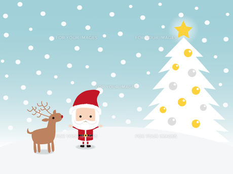 サンタクロースとトナカイ クリスマスツリーの写真素材 [FYI00195563]