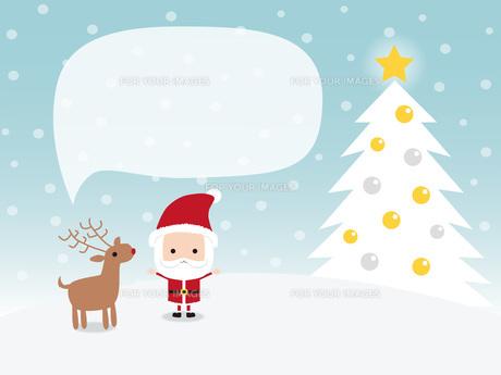サンタクロースとトナカイ クリスマスツリー 吹き出しの写真素材 [FYI00195565]