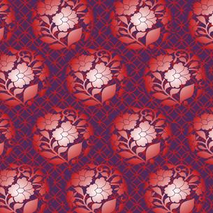 和風な臙脂色の花丸パターンの写真素材 [FYI00197711]