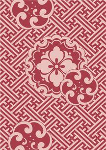 紗綾形の地模様に赤の伝統模様の写真素材 [FYI00197748]