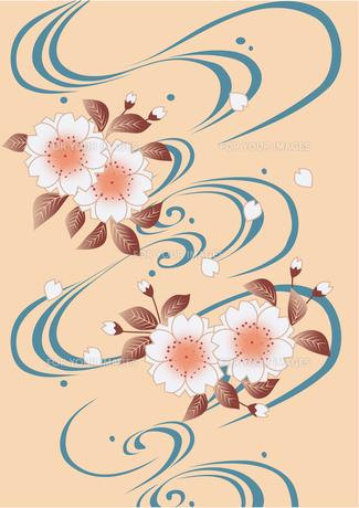 川の流れに桜花の写真素材 [FYI00197815]