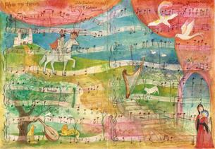 ダウランドの絵楽譜の写真素材 [FYI00197851]
