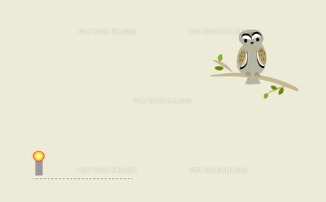 フクロウのメッセージボードの写真素材 [FYI00198636]