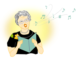 歌う婦人の写真素材 [FYI00198676]