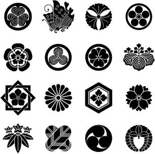 家紋セット1 白地に黒の写真素材 [FYI00200057]
