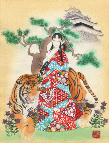 城が背景の虎と着物の女の写真素材 [FYI00200432]