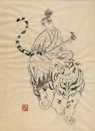 虎に乗る着物の女の写真素材 [FYI00200435]
