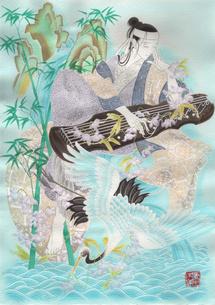 中国風の男と琴と鶴の写真素材 [FYI00200442]