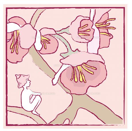 桜の花と小さな人の素材 [FYI00200601]