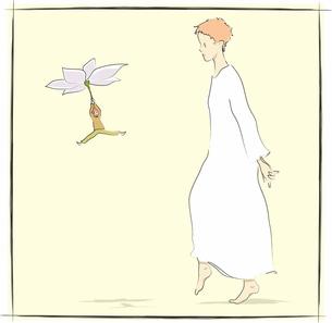 小さな人と白いワンピースの少女の素材 [FYI00200615]