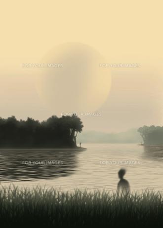 夕暮れの沼地の素材 [FYI00200629]
