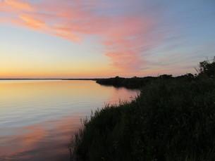 北海道 夕暮れのパンケ沼の写真素材 [FYI00200735]