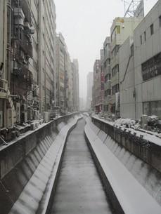 大雪の渋谷川の写真素材 [FYI00200754]