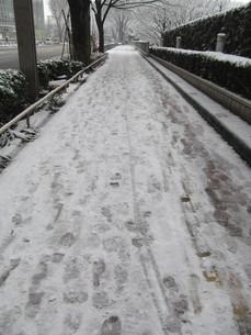 雪の歩道の写真素材 [FYI00200771]