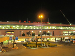 仙台駅の夜景の写真素材 [FYI00200785]