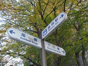 盛岡駅付近の道しるべの写真素材 [FYI00200855]