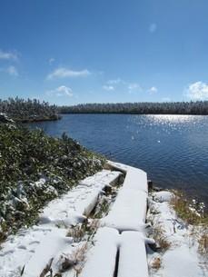 八幡平 八幡沼の湖畔の写真素材 [FYI00200916]