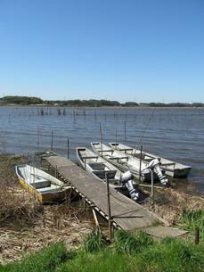 手賀沼とボートの写真素材 [FYI00201273]